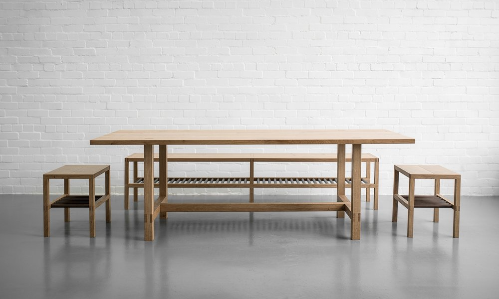 LENNOXLOVE DINING TABLE WITH GLEBE BENCH & STOOLS
