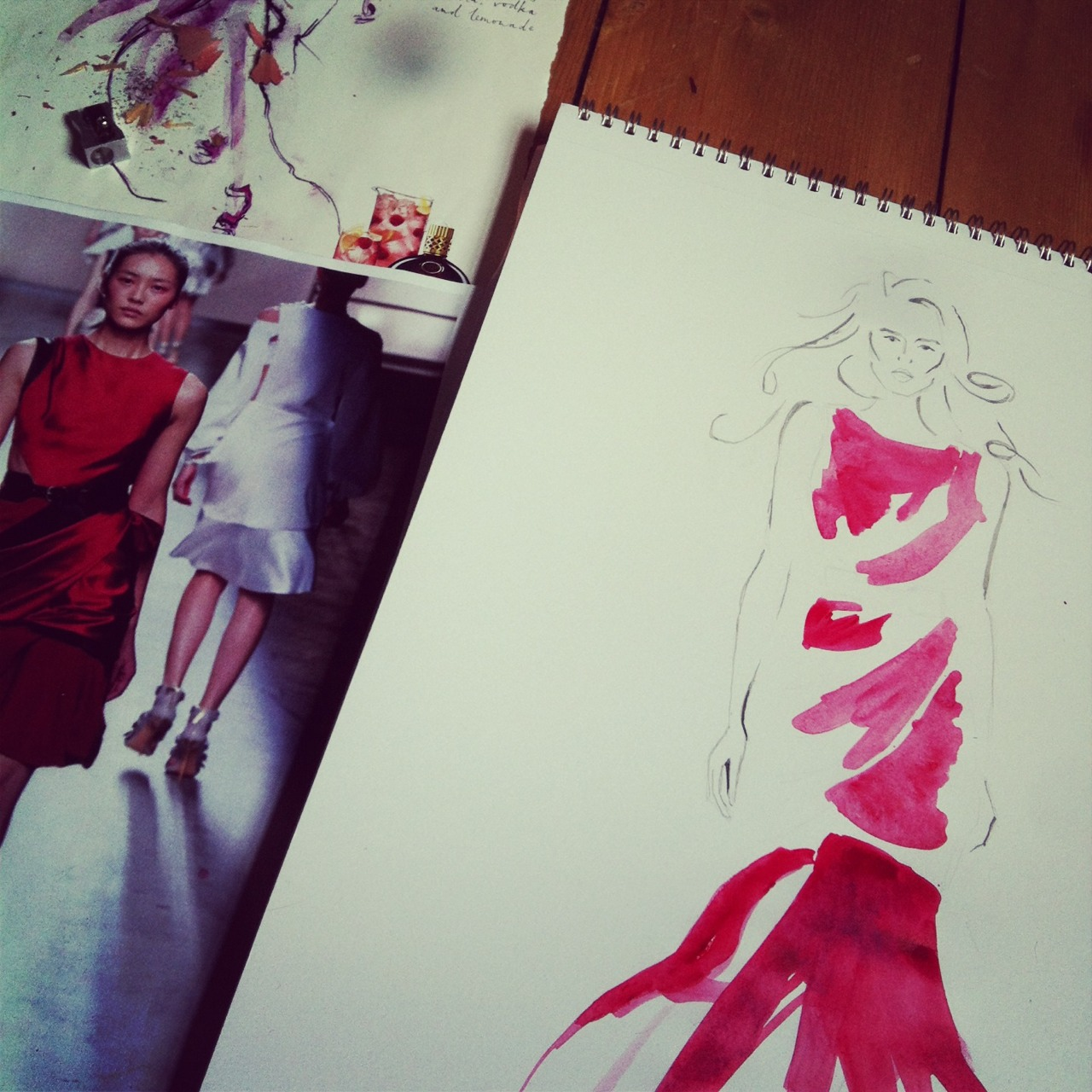 In the making-recent illustration for monthly fashion magazine. Out in December #illuatration #painting #fashion #drawing #inthemaking