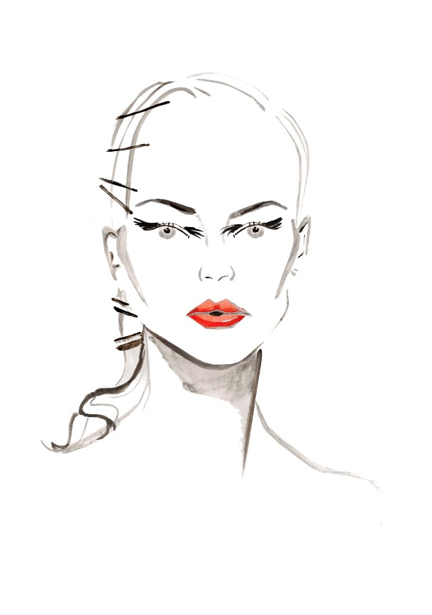 Illustration of the Old Hollywood glamour from the @zac_posen AW14 backstage. Makeup by @kabukimagicNYC and hair by Odille Gilbert at @exposureNY. Inspired by feature on @StylistMagazine #illustration #MBfashionweek #FashionweekNYC #makeup #beauty #backstage #beautyillustration #fashionillustration