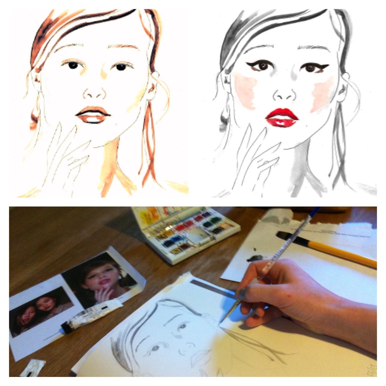 The making of my illustration of Canadian model @Anais_pouliot from @models_1 backstage at London Fashion Weeks Mulberry SS13 show. It may have been some time ago now but what with this first bout of sunshine, I've got a springy spring in my mind. Loved this model in particular for her typically Mulberry English rose appeal and lips I just want to draw! The makeup by @Matthiasvanhoof using @LOrealParisUK giving her a dewy look to go with her severe flicks and loose boho hair by @Sammcknight1. Oh to be an English rose Mulberry girl!    Drawn in pencil, then I used watercolours and fine liner. Scanned in is the original of just the face and then worked over again in bright watercolours with the Mulberry makeup #illustration
