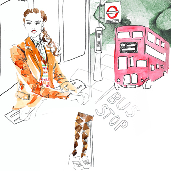 """latest submission for the @twentysomethinglondon competition to go with the theme """"Inspired London"""". why? because i seem to spend a huge part of my London life waiting for a darn red bus!! usually when it's freezing cold or raining but that's another story .  ideally I would be wearing the perfect english rose outfit, i'm talking old school  @ RalphLauren   blazer,  @ pringlescotland socks here.    # englishlondonrose"""