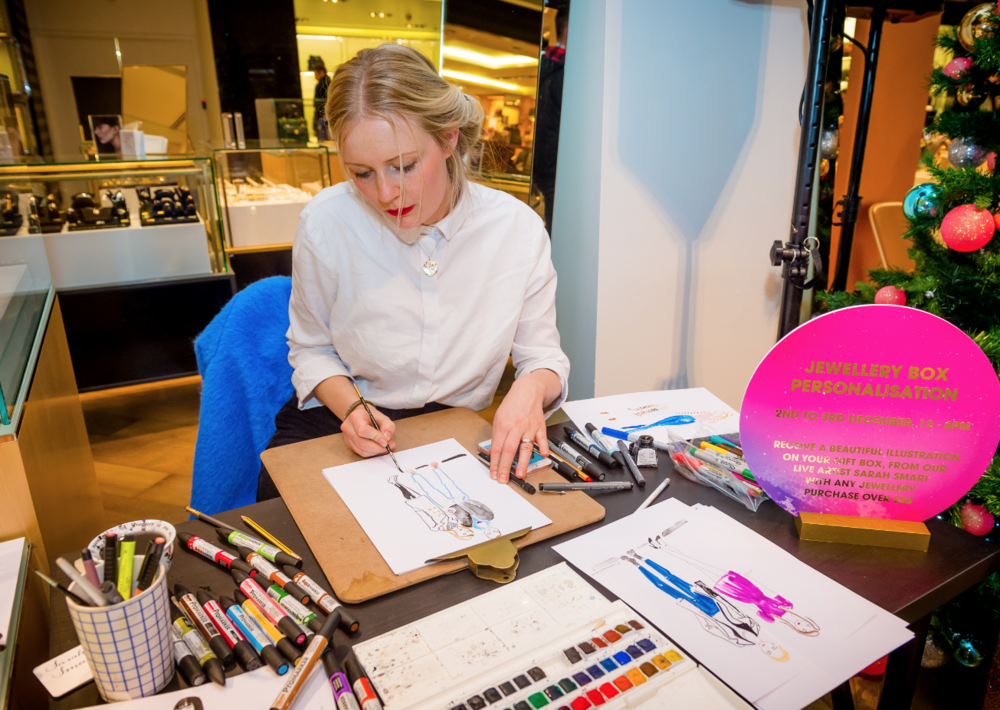 Live Fashion Illustrations at Selfridges, Manchester