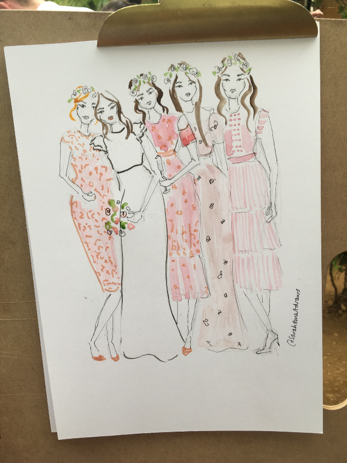 Bride and Bridesmaid Wedding Illustration