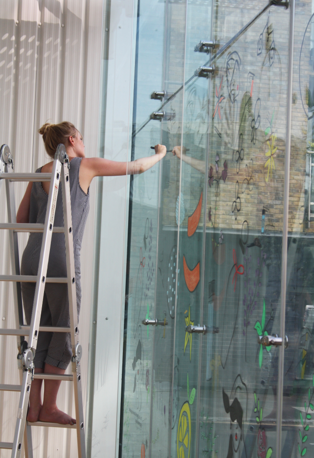 live glass window painting