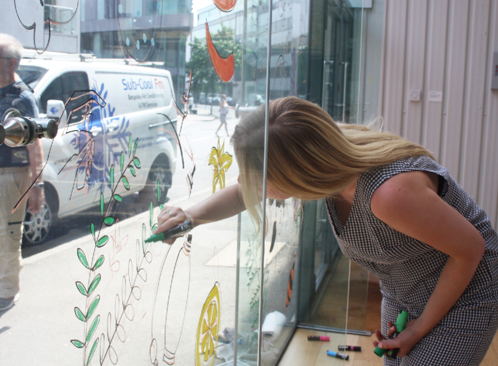 live glass window drawing