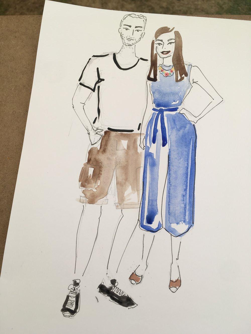Couples fashion illustration