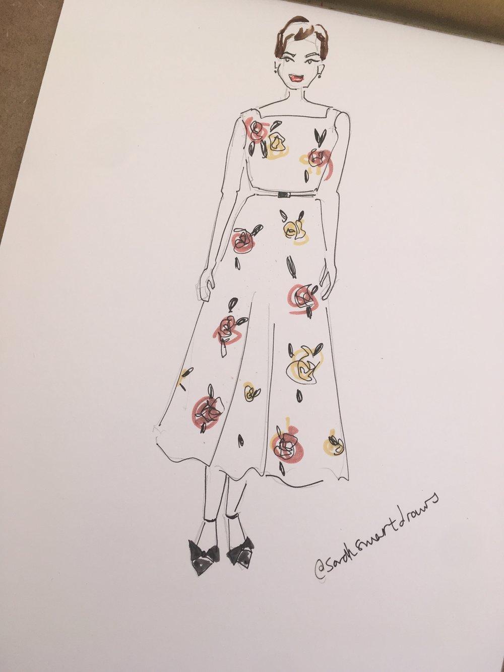 Afternoon tea fashion illustration