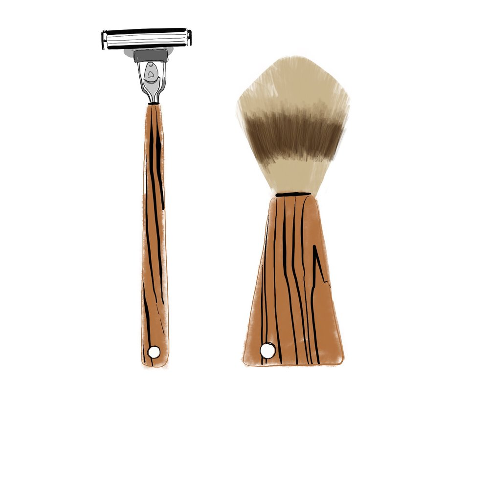 mens grooming product illustration