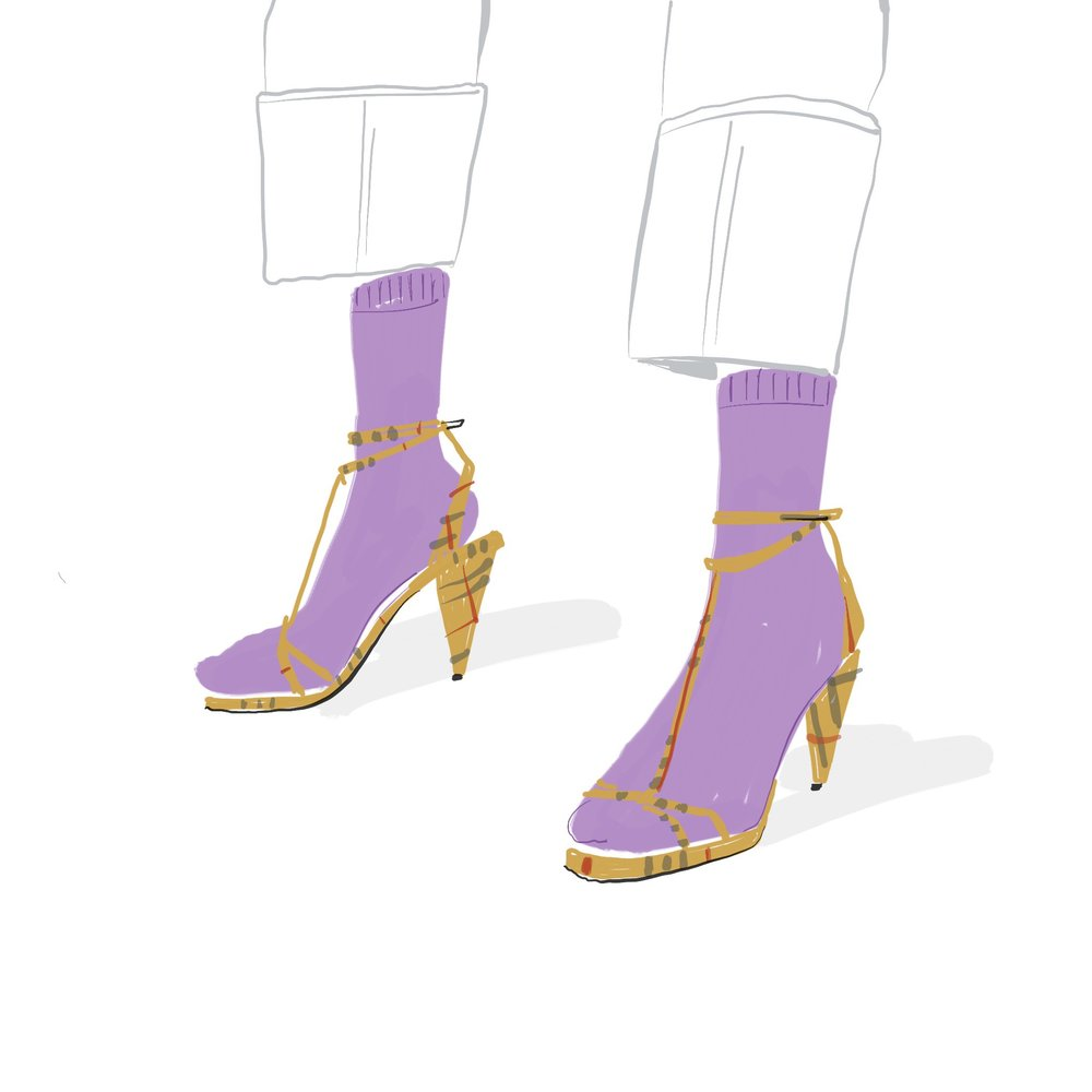 heels and socks ipad fashion illustration