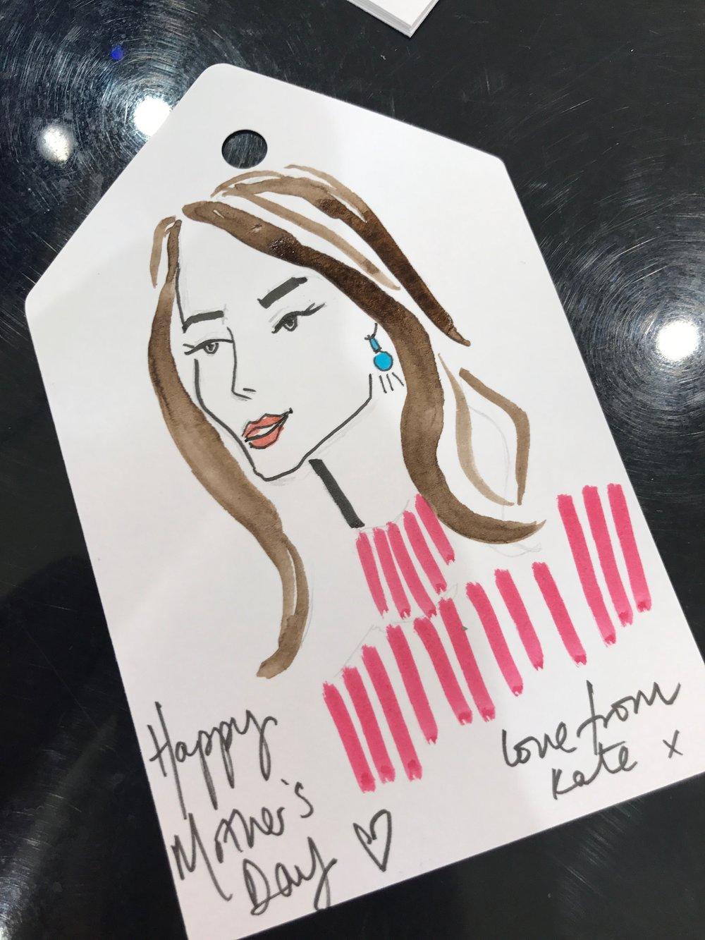 Live Fashion Illustration on Gift Tags, Selfridges