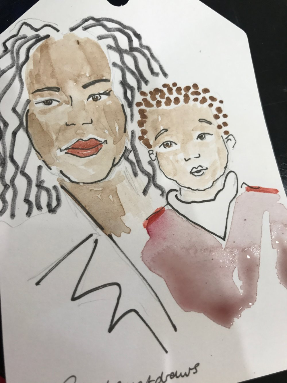 Bespoke Grandmother and Baby Illustration, Sarah Smart at Selfridges