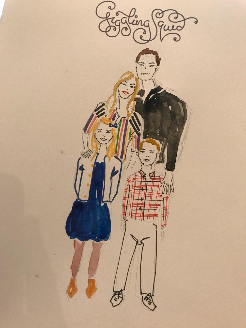 Bespoke family illustration for Mother's Day