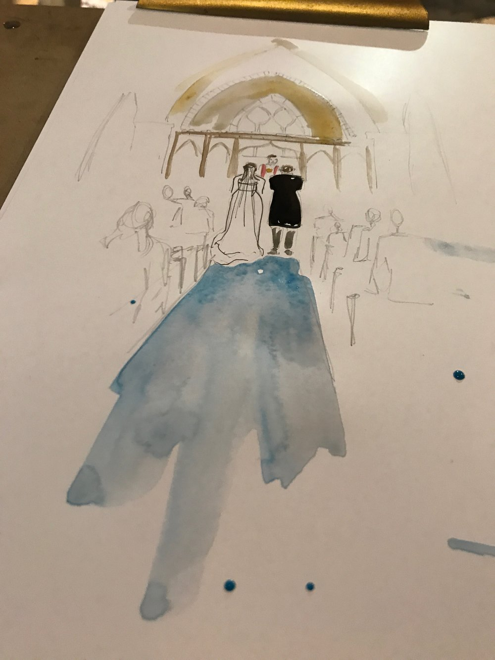 Bride and Groom Watercolour Illustration