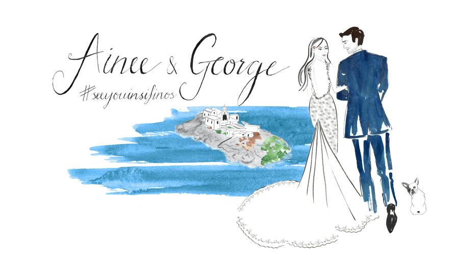 Bride and Groom Fashion Illustration