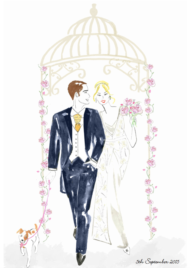 Bride and Groom Fashion Illustration