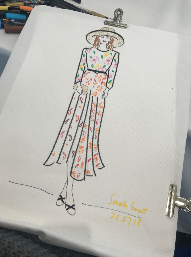 Live fashion illustration at Ascot