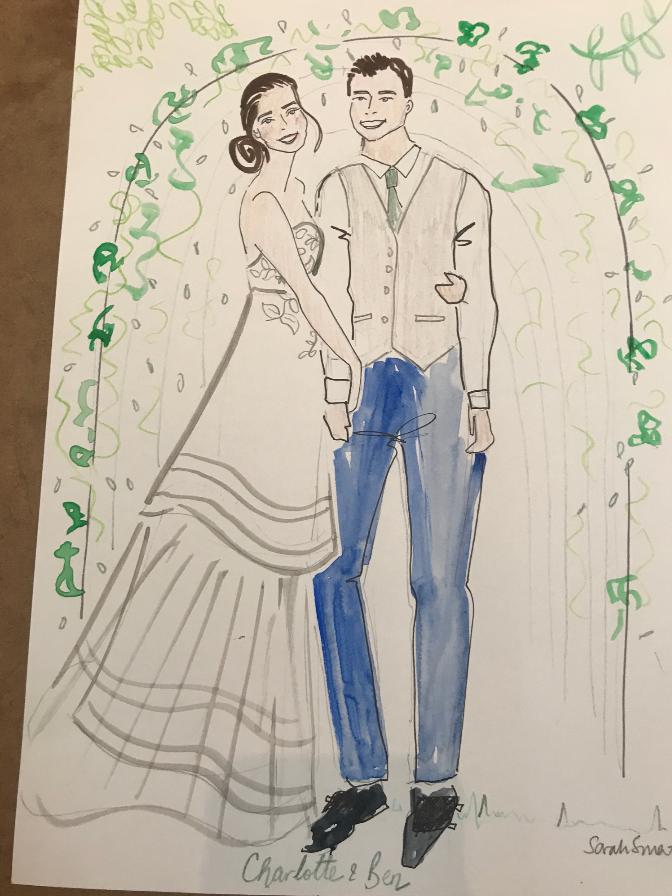 Bride and Groom Portrait Illustration