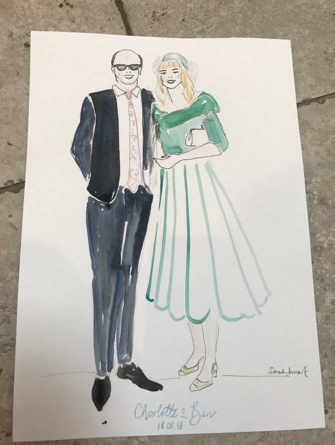Mother and Father Of The Groom Fashion Illustration