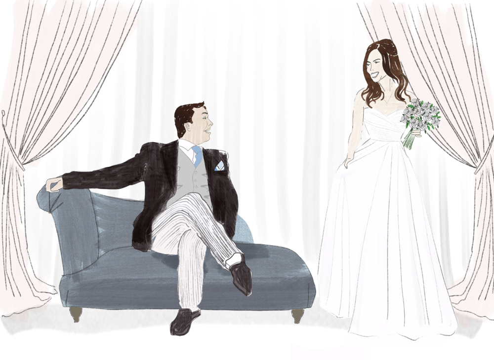 Bride and Father Of The Bride illustration