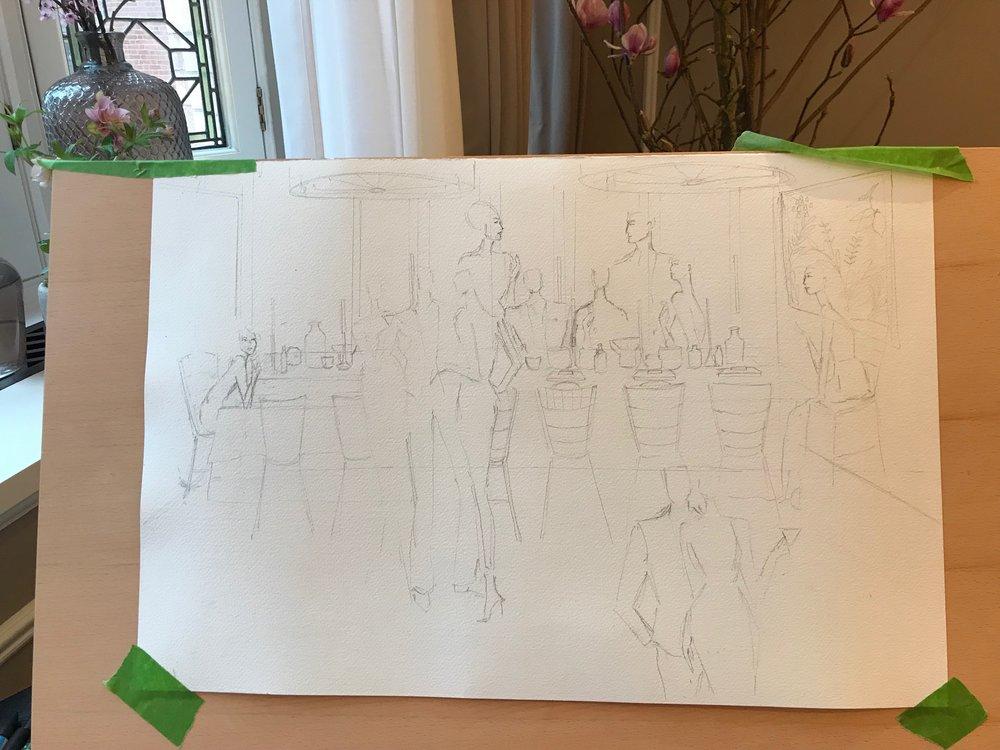 The Belmond Cadogan 'The Art Of Sunday' Live Illustration