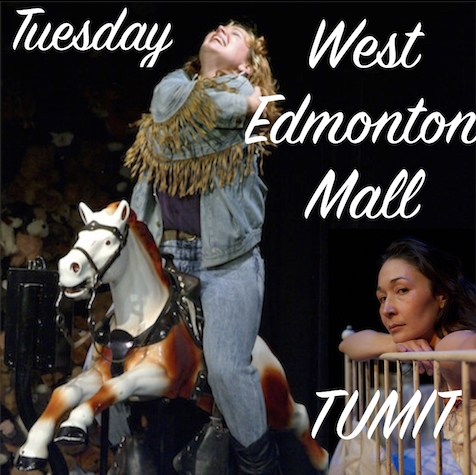 "West Edmonton Mall  written by Patti Flather  Is there life without the Fantasyland Hotel? Not for Christine.  West Edmonton Mall  is a one-woman play about isolation, go-nowhere jobs and been-nowhere boyfriends...and it's about getting from the Yukon to the Polynesian Room in the Fantasyland Hotel in the middle of winter before you turn 30.   TUMIT  written by Reneltta Arluk   TUMIT  explores cycles from generation to generation. Based in an apartment in the city, Sarah, discovers she is pregnant and has to move out of the place she once shared with David. As she packs, Sarah disjointedly journeys through her life revisiting familial relationships and places. Can cycles ever really be broken?   TUMIT , meaning ""tracks"" in Inuktitut, weaves contemporary and traditional storytelling together."