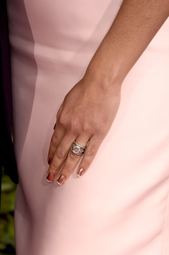 Camila sported a shimmering rose-gold paint job with white french tips at the Golden Globes.