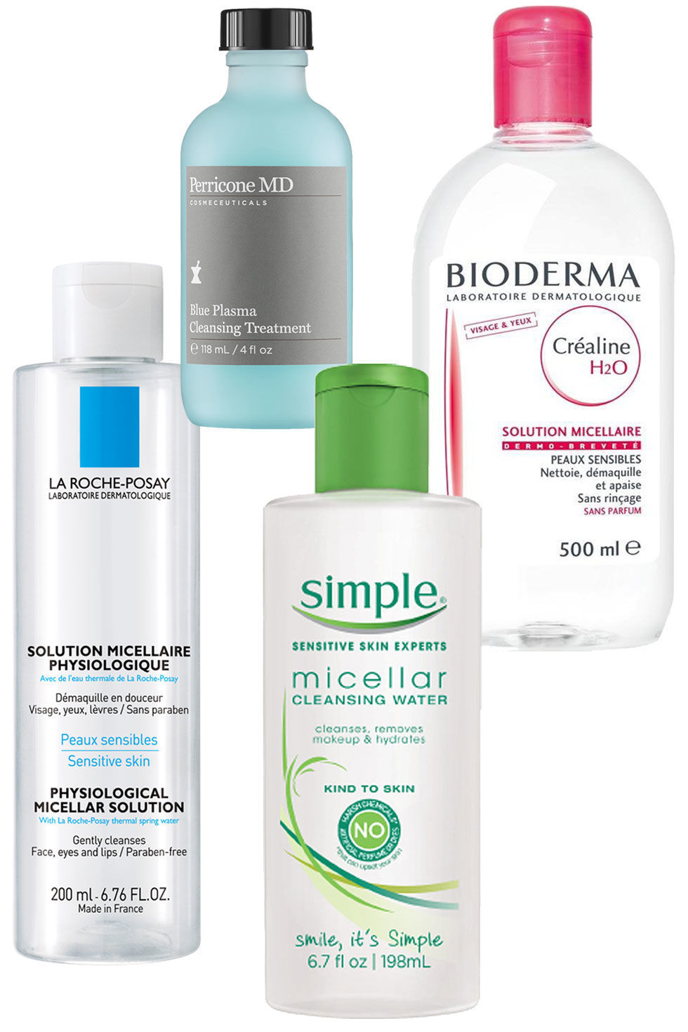 La Roche-Posay Physiological Micellar Solution ($21); Perricone Blue Plasma Cleansing Treatment ($39);Bioderma Crealine H2O ($28); SimpleCleansing Micellar Water ($6.99)