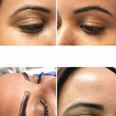 Don't mind the #EastAfrican forehead but here is the process of #microblading from my girl @suite_lovely ... PS going back tomorrow for session 2! My brows are about to be lit in 2018! Anytime I can cut back time ... I'm all for it! Who has time to fill in brows in 2018? #thickbrows #DFWbeautyguide