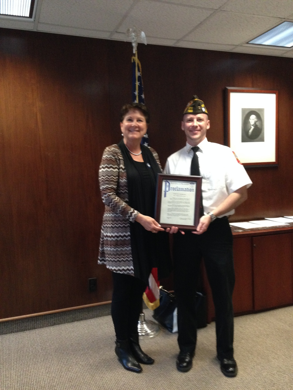 At a recent Randolph town council meeting, Mayor Joanne Veech presented Randolph Memorial Post #7333, Veterans of Foreign Wars Post Commander, Scott with a proclamation for the Buddy Poppy distribution program which begins on May 1st through Memorial Day week. The Mayor's proclamation included the wearing of the Buddy Poppy showing a mute display of remembrance for those who fought and died for the freedoms we take for granted. The proclamation reminds all township patriotic citizens to not only wear it but to give generously in support of our veterans' widows and orphans, hospitalized veterans, and many other veteran programs. (pictured L-R: Mayor Joanne Veech and Post Commander Scott; picture submitted by Jack Sassaman)