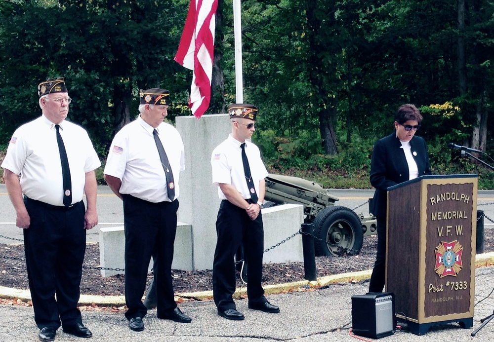 Patriot's Day 2015 - (right to left) John, Dan, Commander Scott and Randolph Mayor Joanne Veech