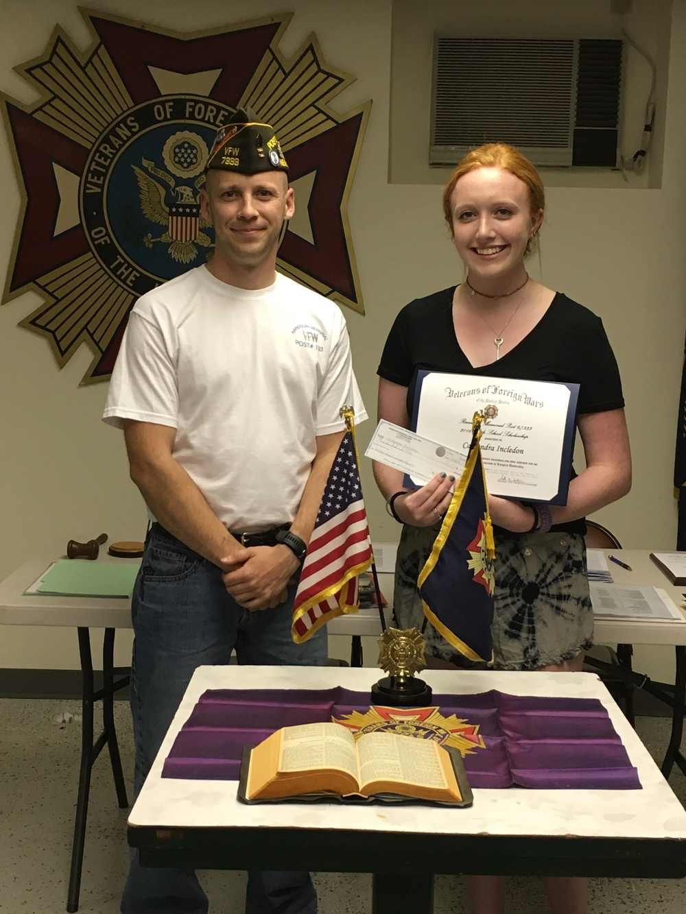 Commander Scott presents Cassandra Incledon the Randolph VFW  2016 Female High School Senior scholarship award.   Cassandra will be attending Rutgers University and studying psychology.