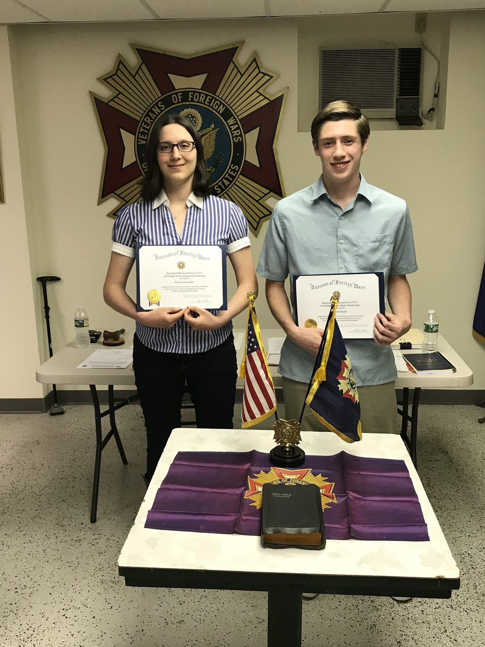 Randolph Memorial Post #7333 Veterans of Foreign Wars presented their 2018 scholarship awards to Felicity Gonzalez and Scott Finnis.
