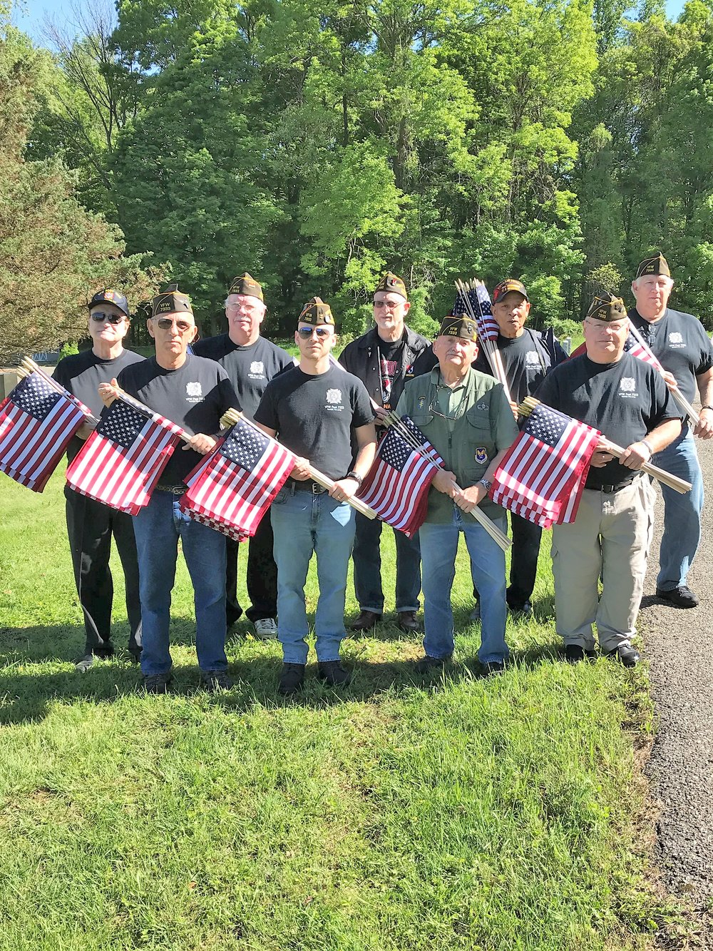 For Memorial Day our Post places flags on the graves of veterans in seven cemeteries in Randolph. Shown here (L to R) are Bill, Ken, John, Scott, Len, the Colonel, Emerson, Ted, Dan. Quartermaster Jack took the photo. We were honored to express our respects and gratitude for their service.