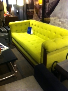 tufted sofa in lime