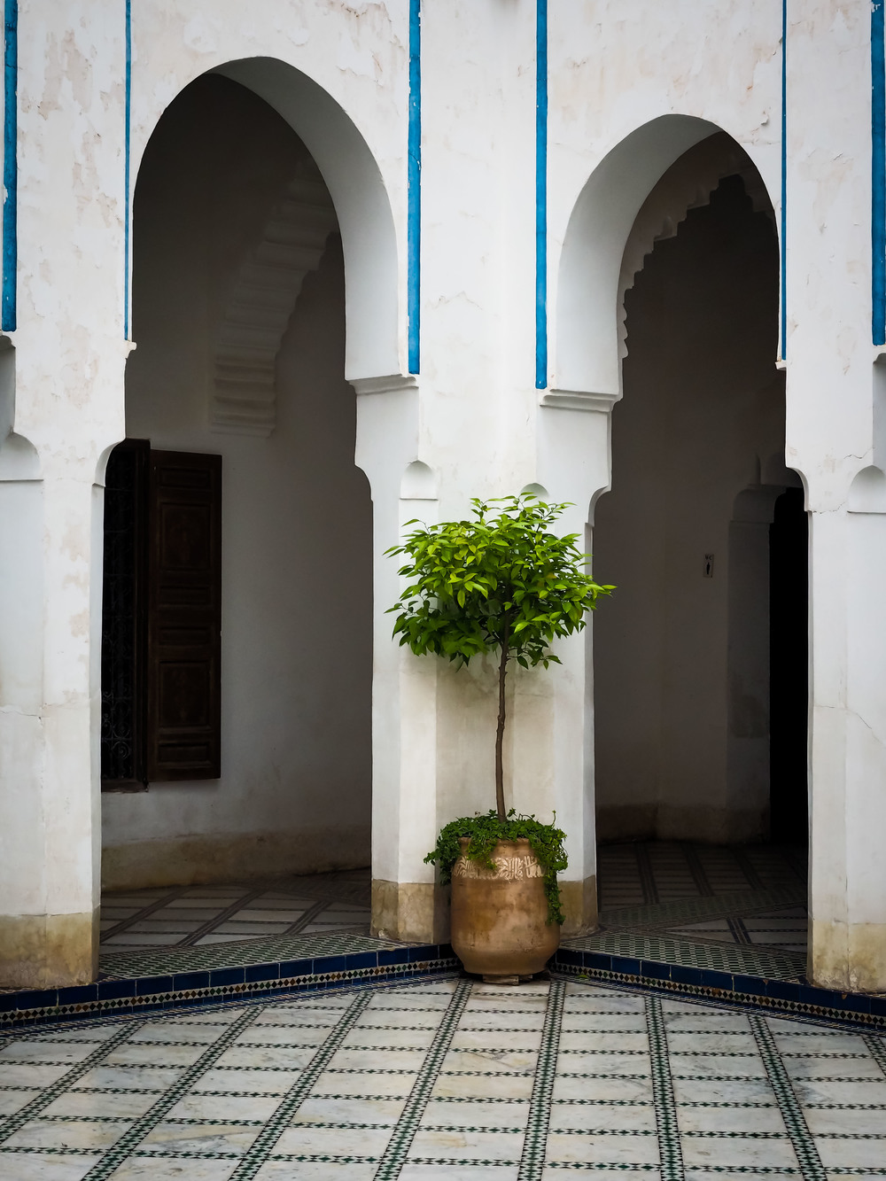 Ben Youssef Madrasa. The open courtyards in the center of most buildings is a charming hallmark of Moroccan architecture.