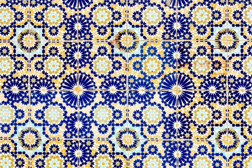 Blue and gold Moroccan tile work.