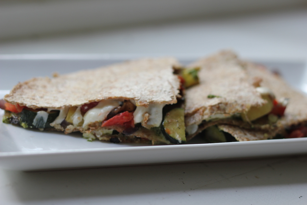 Grilled Vegetable and Pesto Quesadilla
