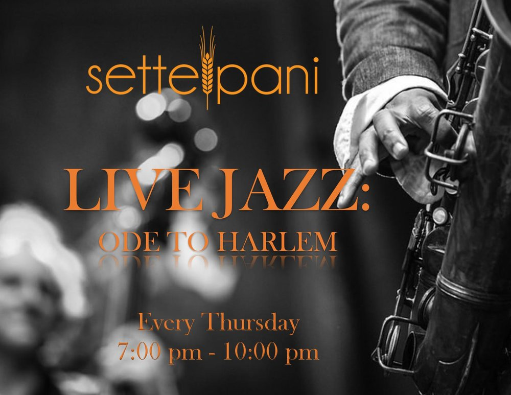 Join us every Thursday at Ristorante Settepani for Live Jazz. Check out Chelsea Ballerini Trio and Joaquin Oubradous (visiting from Morocco) on June 22, Endea Owens on June 29 and Yonatan Oleiski on July 6.