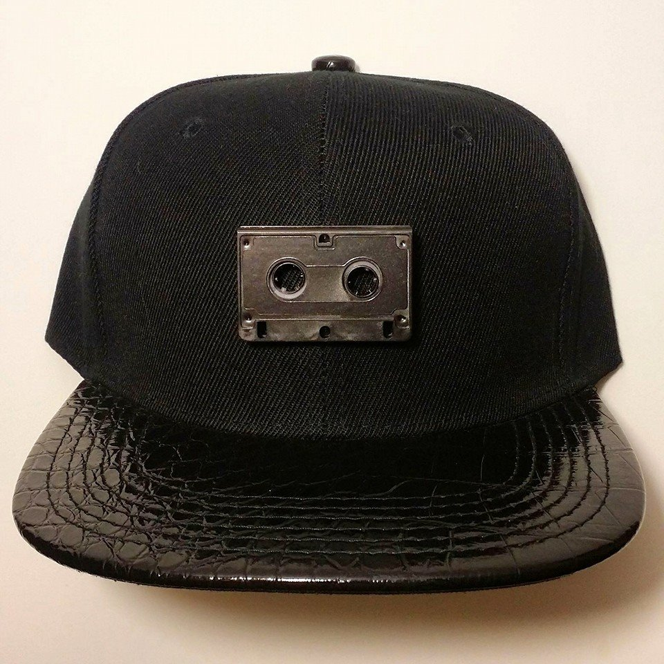 The Black on Black on Black on Black Cassette Snapback is a Stereotype Co exclusive