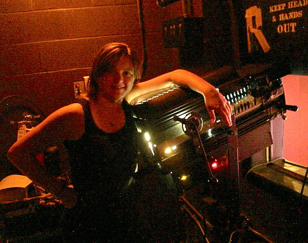 Angelina  running a followspot at the Scott Theater in Fort Worth, Texas, in 2011.