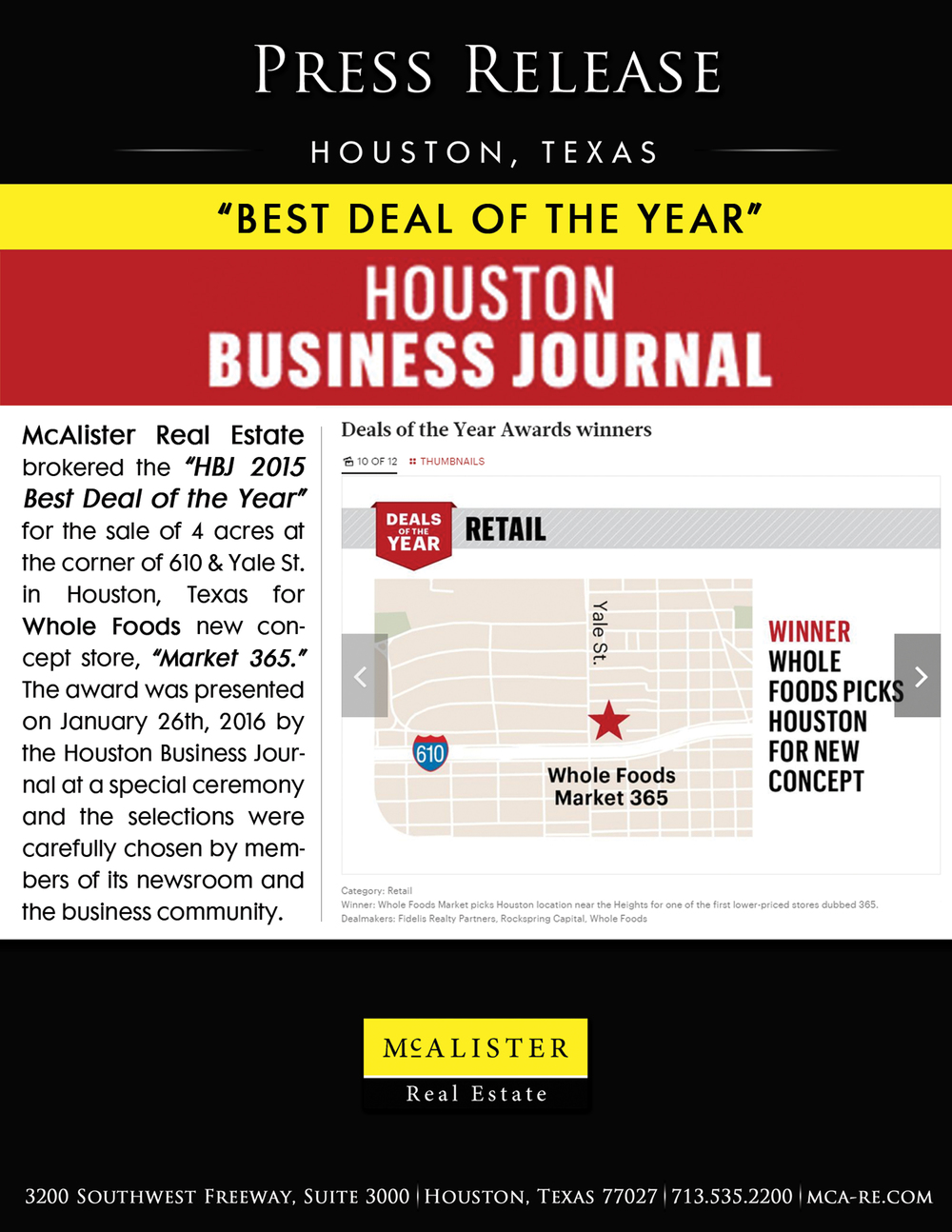 Houston Business Journal Deal of the Year McAlister Real Estate