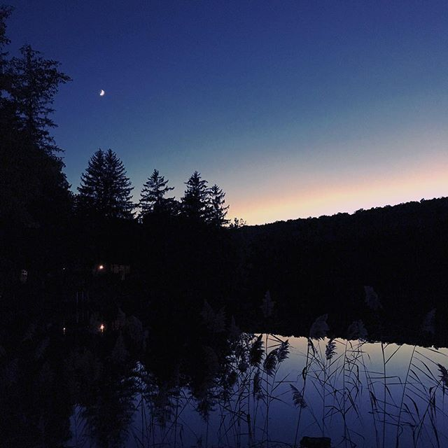 The brightest work is mastered in the dark.  #dowork #master #sunset #lake #stars #moon #theforest #instagood #newyork #production  #setlife #photography