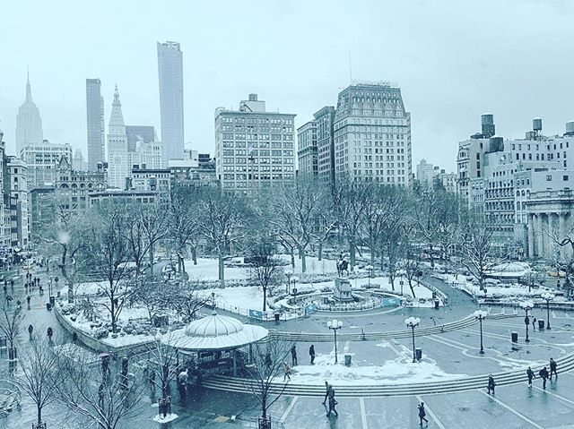 Snow Squared. #unionsquare #nyc #snow #winter #instagood #manhattan #instadaily #cold #newyork #empirestatebuilding #14thstreet #sony #photography #productionlife
