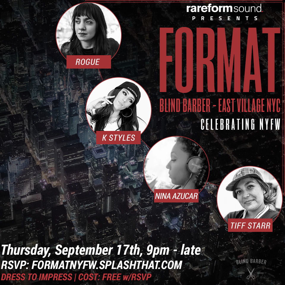 Rareformat presents #FORMAT Thursday, September 17th, 9pm-Late. We'll be celebrating fashion and style, so come proper. Make sure to RSVP at FORMATNYFW.SPLASHTHAT.COM