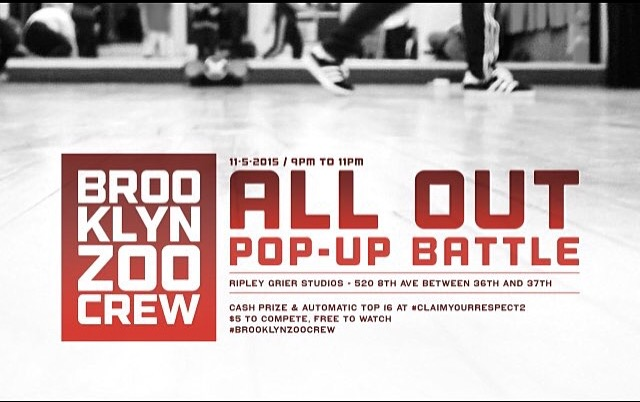 Meet us at Ripley Grier Studios for Brooklyn Zoo Crew's final pop up series. This time around we are going ALL OUT! Sign up's at 8:30pm, 16th floor, room 16Q! #BrookynZooCrew #PopUp #AllOut #RipleyGrierStudios #NewYorkCity