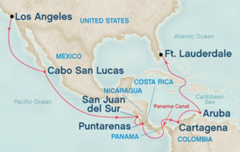 PANAMA CANAL CRUISE Mexico Costa Rica Panama Aruba Jamaica - Us map of costa rica