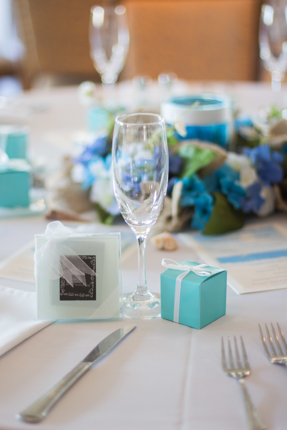 Rustic Aqua Sea Wedding Decor | Martinsborough Wedding Reception - Greenville NC | Bryant Tyson Photography