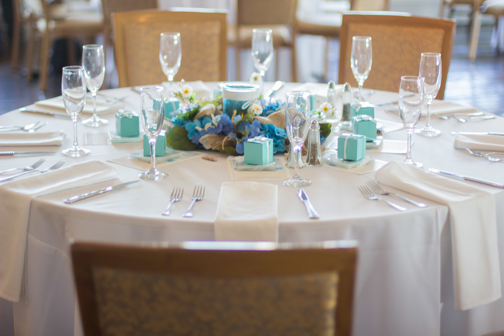 Table Setting Rustic Aqua Sea Wedding Decor | Martinsborough Wedding Reception - Greenville NC | Bryant Tyson Photography