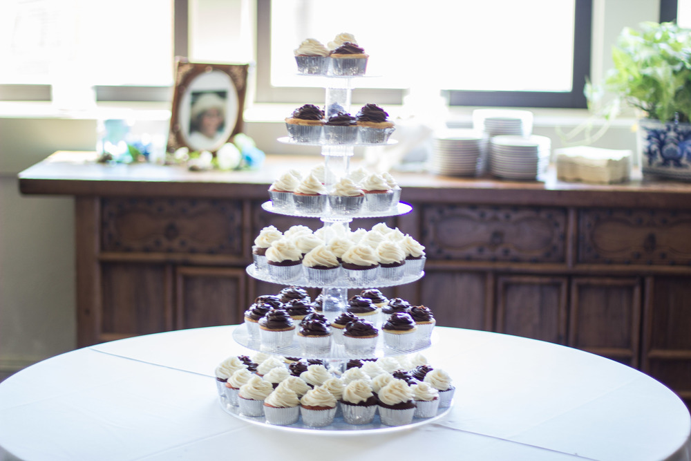 Cupcake Tier - Wedding Cake | Rustic Aqua Sea Wedding Decor | Martinsborough Wedding Reception - Greenville NC | Bryant Tyson Photography