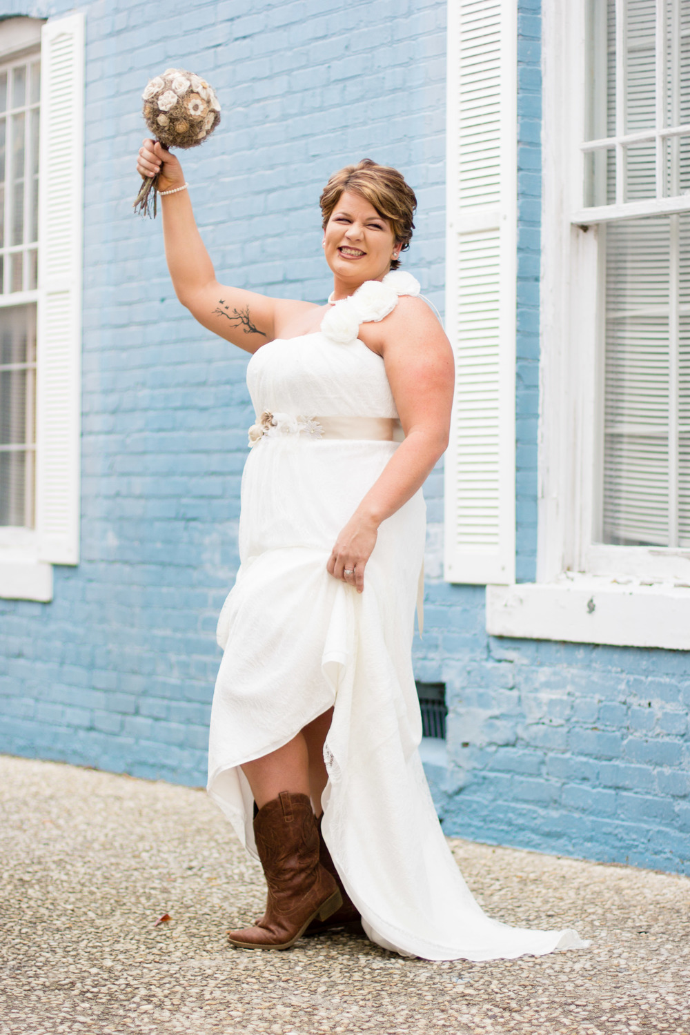 Cowboy Boots Western Wedding | DIY Wedding | Bridal Portraits for Karen | Greenville NC Wedding Photographer | Bridal Pose Ideas | www.memoriesbybryant.com